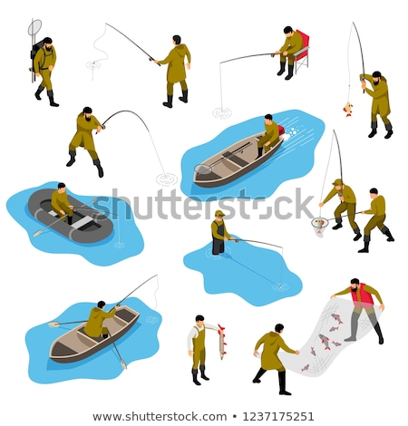 Fish Tackle Hooks isometric icon vector illustration Stock photo © pikepicture