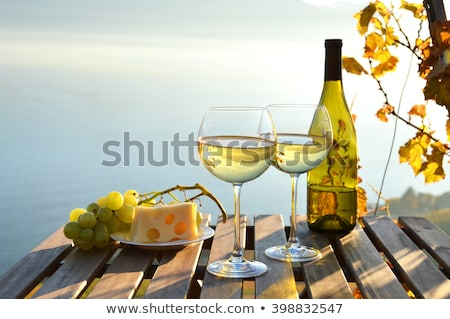 Fehérboros üveg érett szőlő fa asztal szőlőskert étel Stock fotó © karandaev