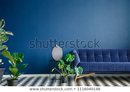 Blauw · interieur · bank · lamp · interieur · scène - stockfoto © spectral
