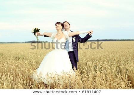 paar · veld · romantische · vrouw · hemel · glimlach - stockfoto © Paha_L