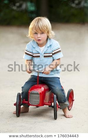 Nosztalgikus játék traktor izolált fehér vágási körvonal Stock fotó © prill