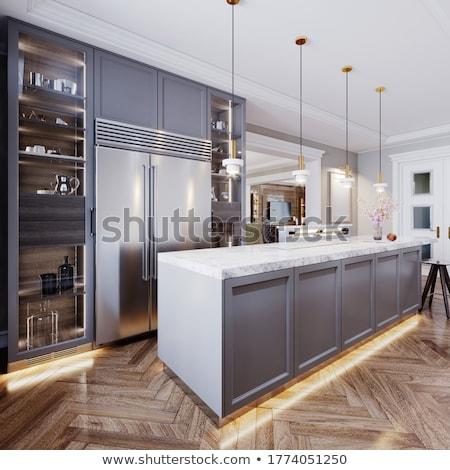 Wooden Bar Stool and kitchen counter Stock photo © vladacanon