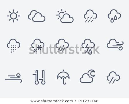 Yağmurlu Hava Durumu Ikon Bulutlar şemsiye Yalıtılmış