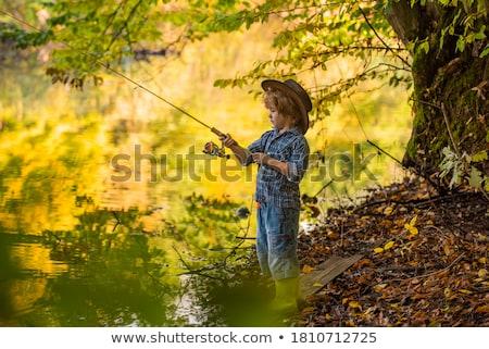 Feliz hielo pescador Foto stock © stevemc