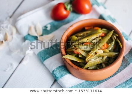 friss · zöldbab · fából · készült · tál · étel · csoport - stock fotó © aladin66