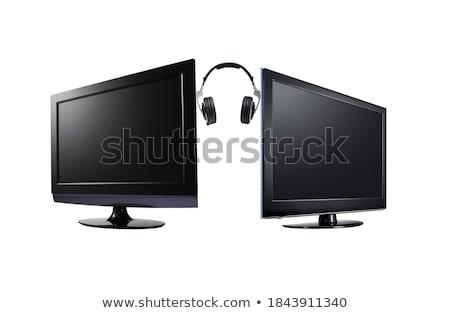 Twee lcd flatscreen tv hoofdtelefoon Stockfoto © ozaiachin