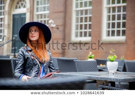 stil · kız · oturma · sandalye · kafe - stok fotoğraf © massonforstock