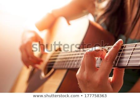 Nő gitár mező fényes piros pipacs Stock fotó © nailiaschwarz