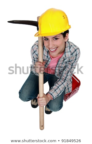 high angle shot of woman holding pickaxe Stock photo © photography33