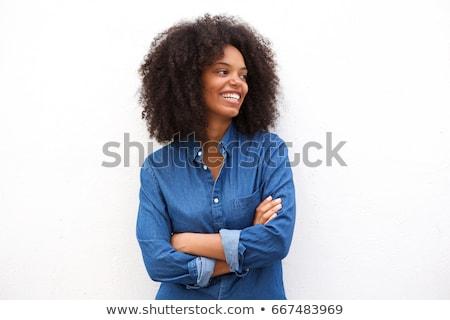 Beautiful armed girl in black Stock photo © acidgrey