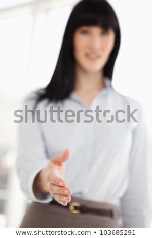 odaklı · atış · el · sallamak · iş · gülümseme - stok fotoğraf © wavebreak_media