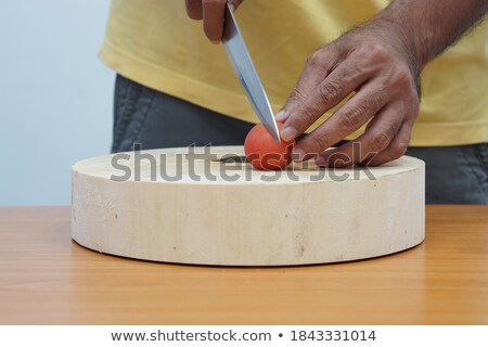 Stock photo: leek and slicer