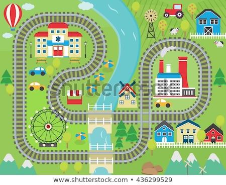 chemin · de · fer · train · suivre · maisons · chemin · de · fer · courir - photo stock © tlorna