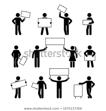 Vector icon man holding picket Stock photo © zzve
