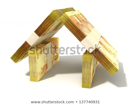 Stacks of two hundred rand bank notes assembled in the shape of a house on an isolated background Stock photo © albund