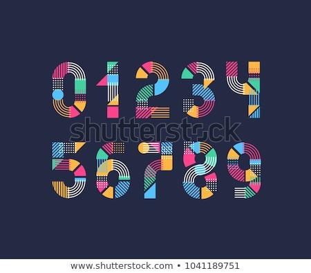 coloré · résumé · icônes · nombre · pas - photo stock © cidepix