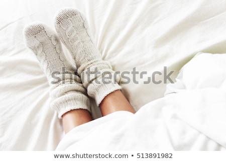 Wełny skarpetki pary szary biały naturalnych Zdjęcia stock © Stocksnapper