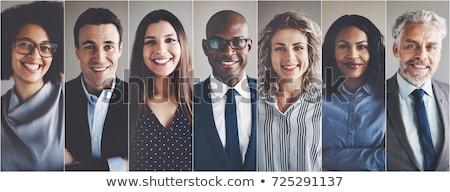 ビジネスの方々 ·  · 小さな · 笑みを浮かべて · 孤立した · 白 · コンピュータ - ストックフォト © Kurhan