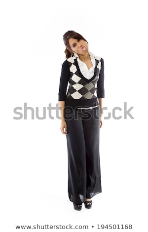 Indian young woman poking out tongue towards camera isolated on white background Stock photo © bmonteny