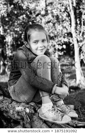 Kız huş ağacı portre genç kız ağaç orman Stok fotoğraf © dashapetrenko