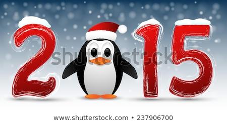 2015 buon anno babbo natale albero neve star Foto d'archivio © carodi