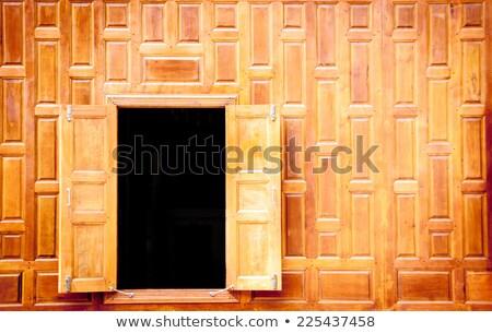 открытых древесины Windows тайский стиль антикварная Сток-фото © yanukit