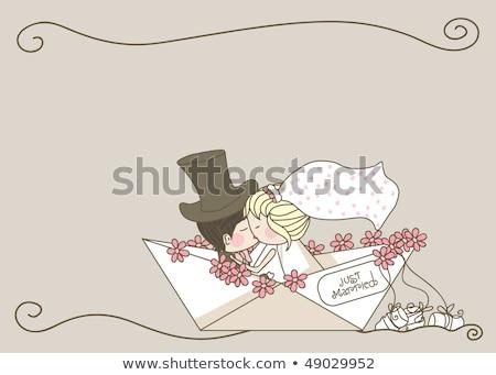 ślub para łodzi jezioro za biały Zdjęcia stock © jeliva