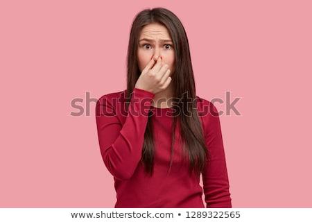 Terrível ver mulher mão boca Foto stock © stockyimages