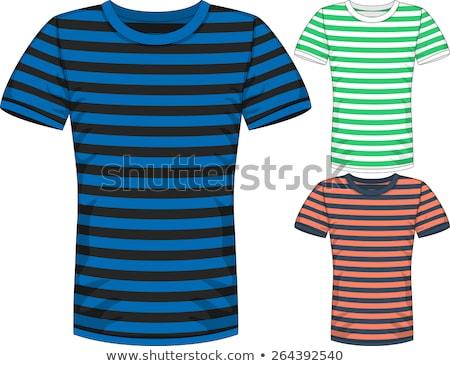 Zdjęcia stock: Niebieski · biały · pasiasty · tshirt · zielone · tle