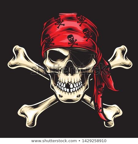 Pirata cráneo blanco negro ilustración arte océano Foto stock © lineartestpilot