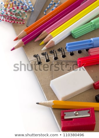 Caneta apagador apontador branco lápis laranja Foto stock © ozaiachin