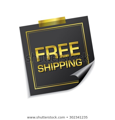free shipping golden sticky notes vector icon design stock photo © rizwanali3d