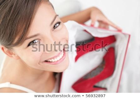 Stock fotó: Piros · magas · nő · cipők · fehér · doboz