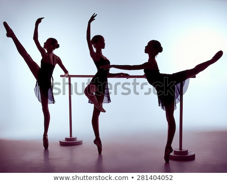 three young ballerinas stretching on the bar stock photo © master1305