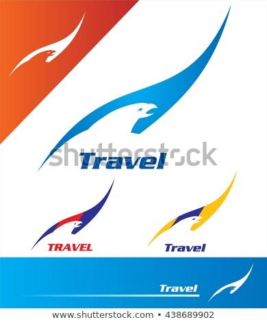 Seyahat logo dizayn kuş negatif Stok fotoğraf © HunterX