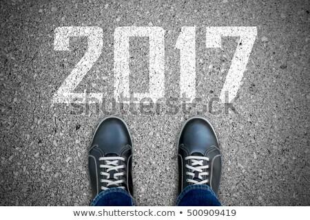 Vooruit jaar hand tekening nieuwjaar witte Stockfoto © ivelin