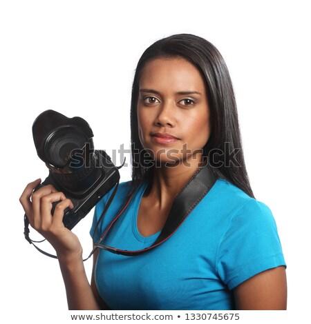 Vonzó félvér fiatal nő dslr kamera fehér Stock fotó © feverpitch