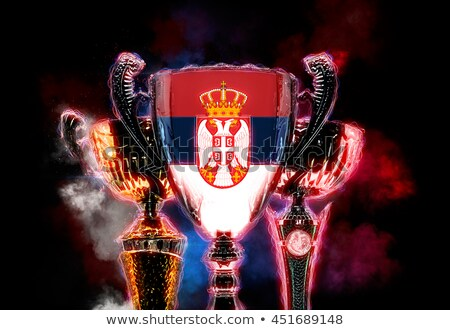 Trophy cup textured with flag of Serbia. 2D Digital illustration Stock photo © Kirill_M