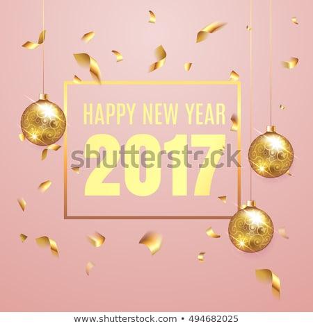 Siyah kırmızı happy new year metin mutlu dizayn Stok fotoğraf © rioillustrator
