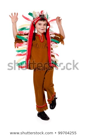 Little boy in american indian costume Stock photo © bluering