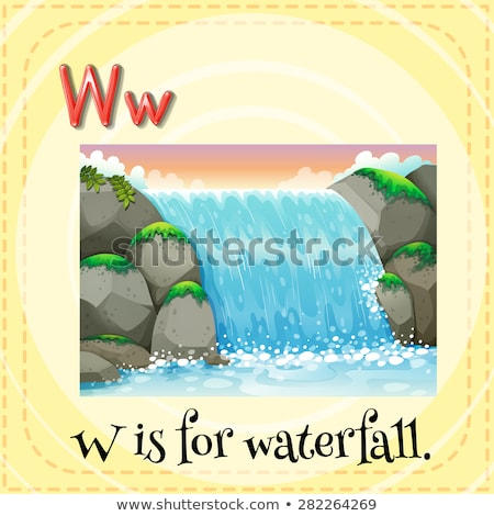 Flashcard letter W is for waterfall Stock photo © bluering