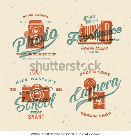 Retro poster or logo template with old camera icon. Isolated on grunge halftone background. Photogra Stock photo © JeksonGraphics