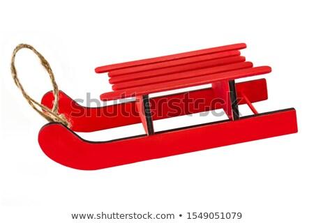 Czerwony sanki metal śniegu dziecko liny Zdjęcia stock © magraphics