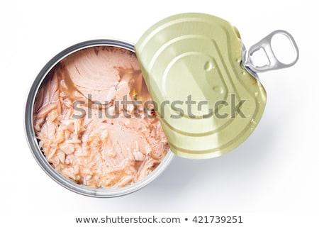 Ton balığı beyaz plaka gıda deniz ürünleri Stok fotoğraf © Digifoodstock