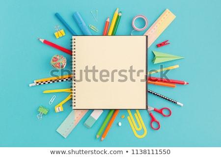 tanszerek · izolált · fehér · iskola · toll · keret - stock fotó © bdspn