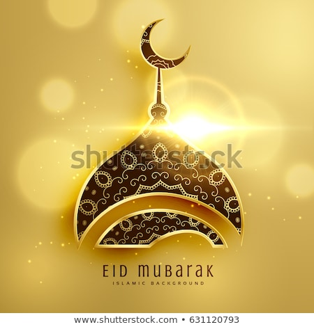 eid festival background with golden mosque Stock photo © SArts