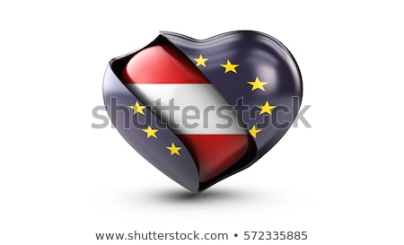 Illustration of EU Flag and flag of Austia, isolated white Stock photo © tussik