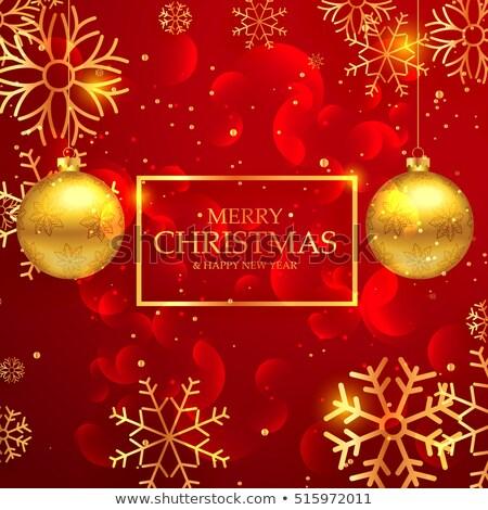 czerwony · złoty · śniegu · christmas · dekoracji - zdjęcia stock © sarts