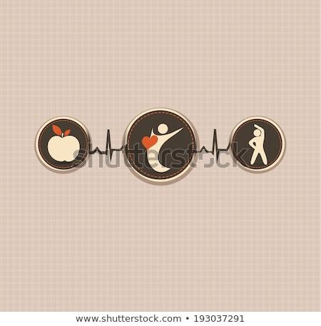 healthy human vintage design connected wellness symbols stock photo © tefi