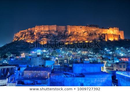 erőd · India · épület · város · fal · kék - stock fotó © xantana